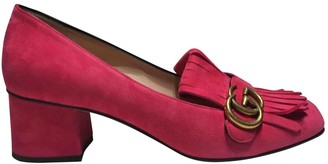 Gucci Marmont Pink Suede Flats