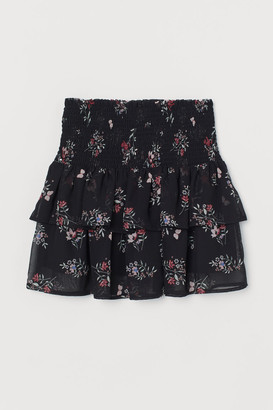 H&M Smock-detail Tiered Skirt - Black