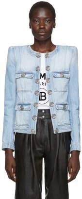 Balmain Blue Collarless Denim Jacket