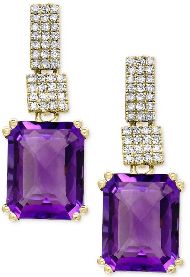 Effy Amethyst (5-1/3 ct. t.w.) and Diamond (1/5 ct. t.w.) Drop Earrings in 14k Gold