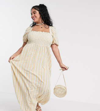 Asos DESIGN Curve shirred bustier maxi dress with puff sleeve in seersucker stripe