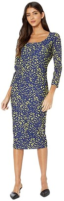 Fuzzi Long Sleeve Knee Length Poppy Print Dress (Blueberry) Women's Dress