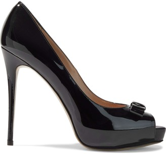 Valentino Garavani Bow-embellished Patent-leather Platform Pumps