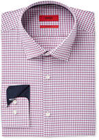 HUGO BOSS HUGO Men's Slim-Fit Dark Red Micro Check Dress Shirt