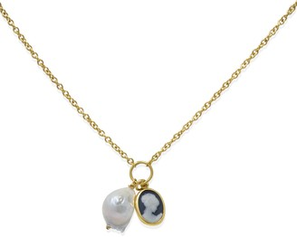 Vintouch Italy Black Cameo With A Pearl Necklace