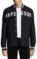 PRPS Logo Button-Front Shirt jacket, Black