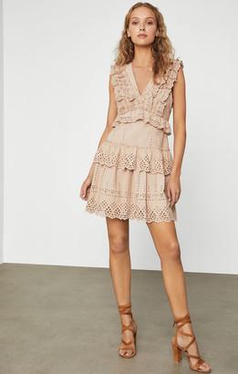 BCBGMAXAZRIA Cotton Flax Eyelet Dress