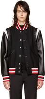 Givenchy Black Wool & Leather Bomber Jacket
