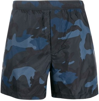 Valentino Camouflage Printed Swim Shorts