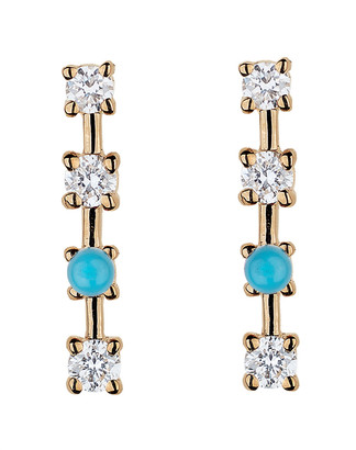 Lee Jones Diamond and Turquoise Sparkling Sugar Stud Earrings - Yellow Gold