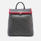 Lulu Guinness Women's Diagonal Stripes Jasmina Backpack Black/Chalk