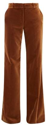 Bella Freud David Wide-leg Velvet Trousers - Womens - Mid Brown
