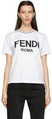 Fendi White Embroidered Logo T-Shirt