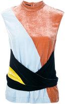 Cédric Charlier colour block velvet top