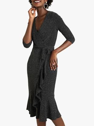 Yumi Lurex Wrap Dress with Frill Detail, Black