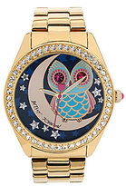 Betsey Johnson Owl and Moon Motif Dial Crystal Bezel Bracelet Watch