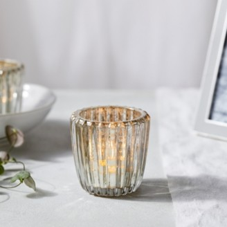 The White Company Mercury Small Ribbed Tealight Holder, Silver, One Size
