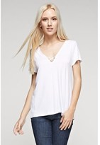 B-Sharp Collection Tanboocel Bamboo Solid Short Sleeve Ivory Tunic.