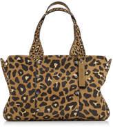 Jimmy Choo LOCKETT SHOPPER/S Hazelnut Mix Leopard Print Pony Tote Bag