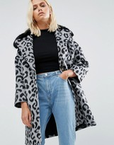 Helene Berman Faux Fur Collar Coat Leopard With Black Fur