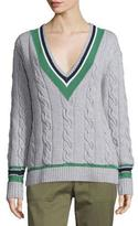 3.1 Phillip Lim Collegiate V-Neck Pullover Sweater, Foggy