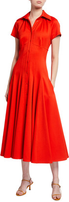 Brandon Maxwell Stretch Pique Tea-Length Dress