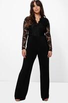 Boohoo Plus Iris Long Sleeve Lace Top Slinky Jumpsuit black