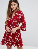 Boohoo Floral Ruffle Tea Dress