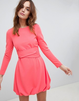 Asos Design DESIGN mini shift dress with gathered hem and wrap belt-Pink