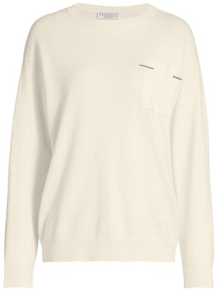 Brunello Cucinelli Cashmere Monili Pocket Crewneck Sweater
