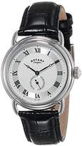 Rotary Quartz Stainless Steel and Leather Casual Watch
