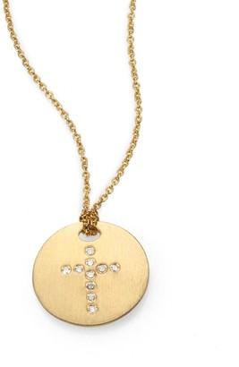 Roberto Coin Tiny Treasures 18K Yellow Gold & Diamond Cross Disc Pendant Necklace