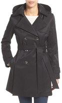 Women's Halogen Detachable Hood Trench Coat