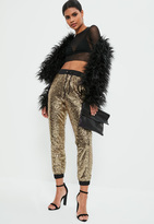 Missguided Gold Sequin Cuffed Jogger