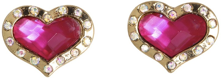 Betsey Johnson A Day At The Zoo Heart Stud Earrings (Fuchsia) - Jewelry