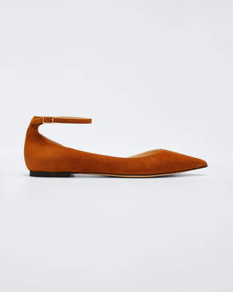 Jimmy Choo Lucy Suede Half-d'Orsay Flat, Canyon