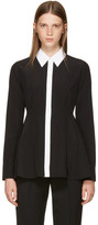 Givenchy Black Silk Contrast Collar Blouse