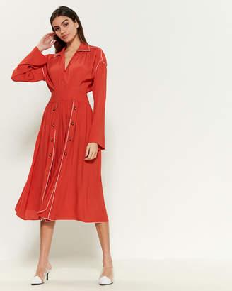 Philosophy di Lorenzo Serafini Button Front Collared Midi Dress