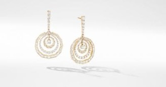David Yurman Stax Mixed Cut Chain Earrings In Yellow Gold With
