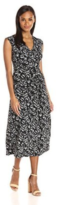 Chaus Women's Cap SLV Stencil Blooms Wrap Dress
