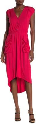 Loveappella Drape Pocket Hi-Lo Dress