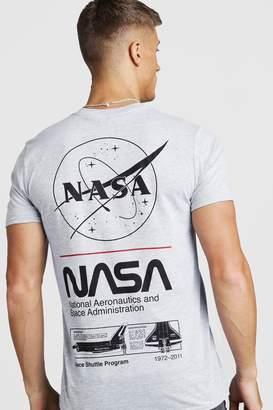 boohoo NASA License Front & Back Print T-Shirt