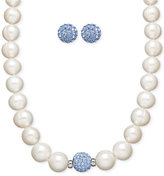 Honora Style Cultured Freshwater Pearl (7mm) and Blue Crystal Stud Jewelry Set in Sterling Silver