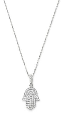 Bloomingdale's Pave Diamond Hamsa Pendant Necklace in 14K White Gold, 0.33 ct. t.w. - 100% Exclusive