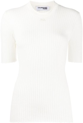 Courreges Embroidered Logo Ribbed Knit Jumper