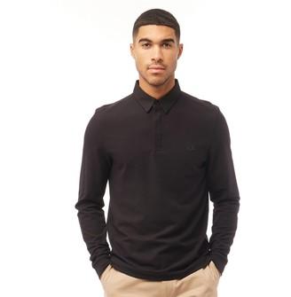 Fred Perry Mens Oxford Collar Pique Long Sleeve Polo Black