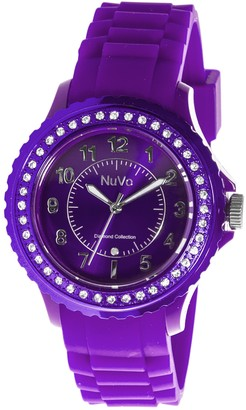 Nuvo - NU158 - Women's Watch - Quartz - Analog - Purple Silicone Bracelet - Purple Dial - Swarovski Elements and Diamond - Fashionable - Elegant - Stylish
