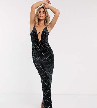 Asos Design DESIGN corset detail hotfix velvet maxi dress-Black