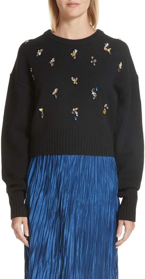 Jason Wu Crystal Embellished Merino Wool Blend Sweater