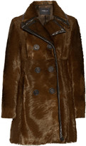 Derek Lam Double-breasted leather-trimmed calf hair coat